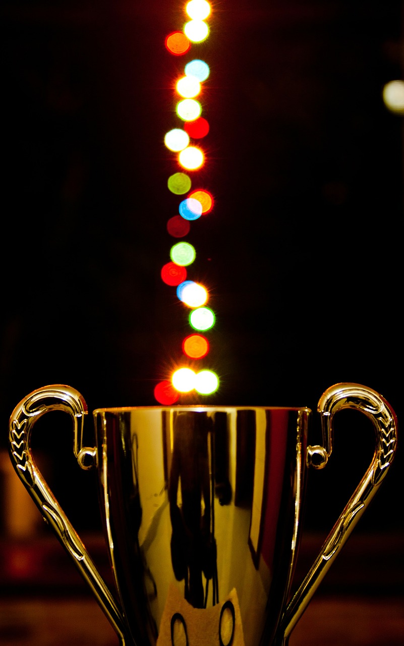 award, cup, lights